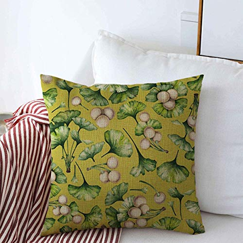 Staropho Pillow Covers Farmhouse Pattern Ancient Watercolor Ginkgo Biloba Branches Leaves Floral Berries Hand Patterns Nature Vintage Decorative Throw Pillow Covers 20'x20' Fall Decorations