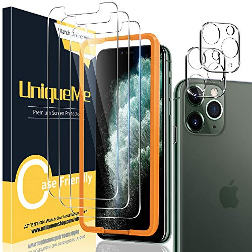 """[2+3 Pack] UniqueMe Screen Protector for iPhone 11 Pro 5.8"""" Tempered Glass and Camera Lens Protector for iPhone 11 pro 5.8"""" Tempered Glass HD Clarity [Bubble Free] Easy installation"""