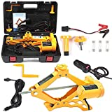 Electric Car Floor Jack 3 Ton All-in-one Automatic 12V Scissor Lift Jack Set for Sedans SUV w/Double Saddles Remote Tire Change Repair Emergency Tool Kits Vehicle Floor Jack Wheel Change(3T)