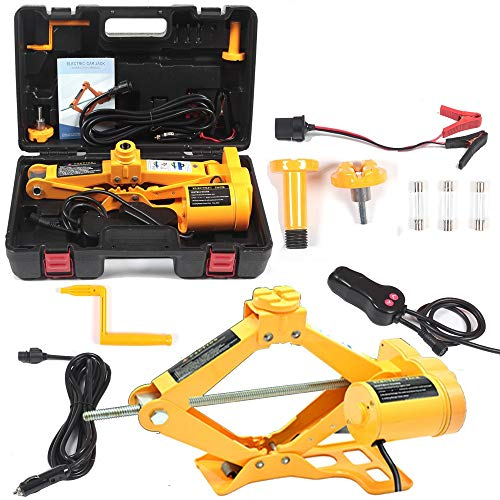Electric Car Floor Jack 5 Ton All-in-one Automatic 12V Scissor Lift Jack Set for SUV w/Remote Tire Change Repair Emergency Tool Kits Floor Jack for Vehicle Wheel Change (5T)