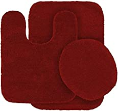3pc Bath Rug Set for Bathroom Non Slip Bath Mat, Contour Mat & Toilet Lid Cover Solid New (Red)
