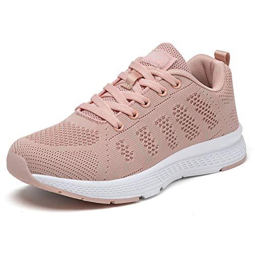 PAMRAY Damen Fitness Laufschuhe Sportschuhe Schnüren Running Sneaker Netz Gym Schuhe Alles Rosa 37