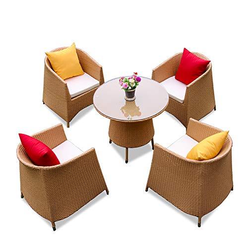 MKMKT Juego de Mesa y Silla de ratán para balcón de jardín de Cinco Piezas Juego de Muebles de jardín de ratán para Exteriores + 4 sillas