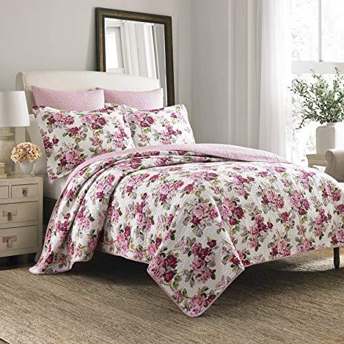 Laura Ashley Home Lidia Collection | Luxuriöser, besonders weicher Steppdeckenbezug, bequemes 3-teiliges Bettwäscheset, stilvolle Tagesdecke, Queensize, Pink