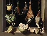 QERFSZD Pintura por Número para Adultos, Pintura Famosa Mundial, Arte para Decoración De La Pared del Hogar 40X50cm Sin Marco Juan Sánchez Cotán - Bodegón con Aves De Caza