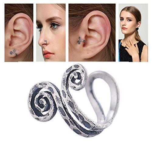 HOMEYU® Anillo de nariz de plata de ley 925 hecho a mano, manguito de oreja, clip para el oído, sin perforación, brazalete de oreja Cool, 3 maneras de usar (1 PC)