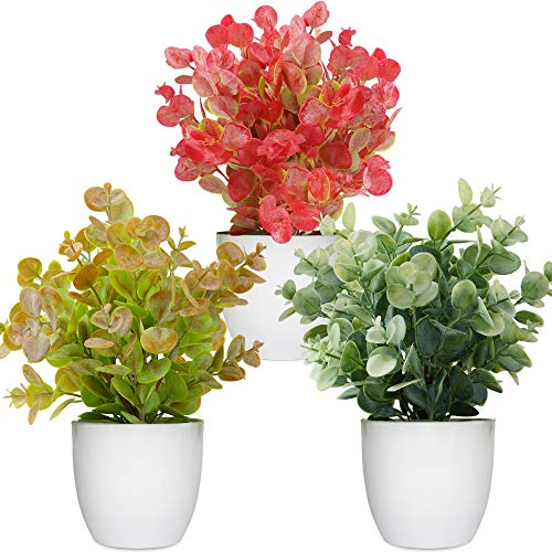 Artificial Potted Plants Mini Fake Plants, 3 Pack Small Eucalyptus Potted Faux Decorative Grass Plant with White Pot for Home Decor, Indoor, Office, Desk, Table Decoration