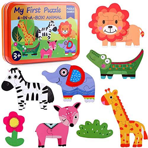 Lewo 6 en 1 Puzzle de Madera Rompecabezas de Animales My First Puzzle Juguetes Educativos para Bebes Niños Niñas Juguetes Niños 2 3 4 Años