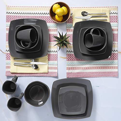 Gibson Home Soho Lounge 16-Piece Dinnerware Set, Gray