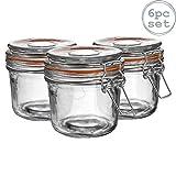 Argon Tableware Preserving/Jam Glass Storage Jars - 350ml - Pack of 6