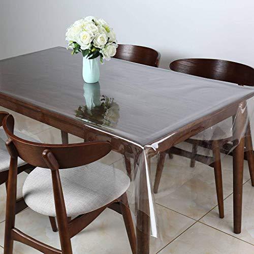 ZQLJ Rectangulaire PVC Nappe,Jardin Lavable Plastique Cristal Transparente Imperméable Heavy Duty Protection De Table-Transparent/0.23mm-137X137cm/54X54 Pouce