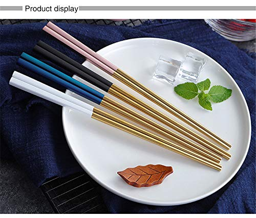 Iktu 5 Pairs Gold Polish Reusable Stainless Steel Chopsticks Set with Bag, Dishwasher Safe, 9 Inch Chop Sticks for Asian Korean Chinese Japanese Food (5 Colors)