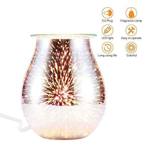 FreeLeben Aroma Diffuser für Ätherische Öle, 3D Glas Aromatherapie Diffusor Luftbefeuchter, Feuerwerk-Effekt Duftlampe für Schlafzimmer, Wohnzimmer