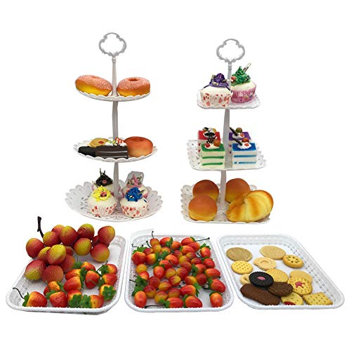 FEOOWV 2pcs 3-Tier Round +Square Cake Stand Party Food Server Display Stand with 3pcs Rectangle Plastic Serving Trays for Wedding Birthday Party (Set of 5pcs)