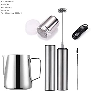 Living Equipment Milk frother Electric Milk Frother with Whisks USB Double Charging Mode 16PCS Coffee Stencils As Milk Fro...