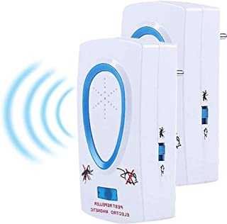 Bestzy 2020 Ultrasone ongediertebestrijder, elektronische bescherming tegen kakkerlakken, muizen, vliegen, muggen (2 stuks)