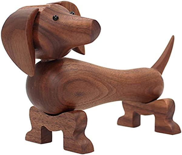Redsa Wooden Dachshund Dog Sculpture Carving Nordic Minimalist Danish Woodcarving Furnishings Logs Sausage Dog For Home Furnishings TV Cabinets Children S Room Decorations