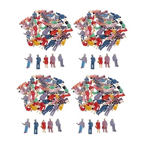 SM SunniMix 200 Pcs Verschieden Stehende Sitzende Figuren Gebäude Passanten Spur H0 1/87 Spielzeug Modellbau