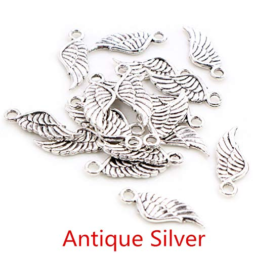 GMYANED 20Pcs Charms Angel Wings 21X8Mm Tibetan Silver Plated 4 Colors Pendants Antique Jewelry Making DIY Handmade Craft