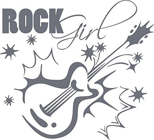 GRAZDesign Wohnzimmer Deko Rock Girl - Wanddeko Jugendzimmer E-Gitarre - Wandtattoo Musik Motiv für Musikzimmer / 63x57cm / 071 grau