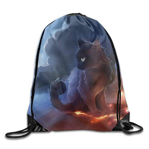 PmseK Turnbeutel Sportbeutel Kordelzug Rucksack, Cat Warrior Gym String Bag Drawstring Backpack