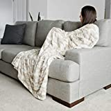 Faux Fur Throw Blanket Large Warm Cozy Super Soft Throw 50' x 60' by Graced Soft Luxuries, Marbled Ivory