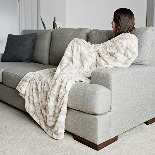 "GRACED SOFT LUXURIES Faux Fur Throw Blanket Large Warm Cozy Super Soft Throw 50"" x 60"", Marbled Ivory"