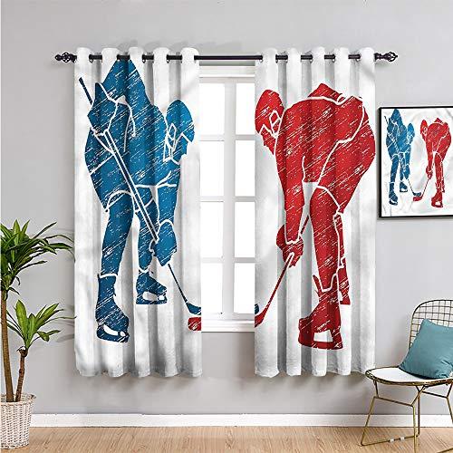 Cortina deportiva negra para ventana, 2 paneles, cortinas de 182,88 cm de largo, jugadores de hockey, actividades de hobby, fácil de limpiar, 163 cm de ancho x 182,88 cm de largo