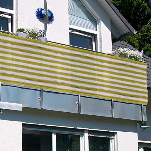 MYNE Balkon Sichtschutz ViewCover 90x500 cm Gelb-Weiß Gestreift - inkl. Befestigungsband   UV-Schutz   Windschutz   Leicht Transparent   Wetterfest