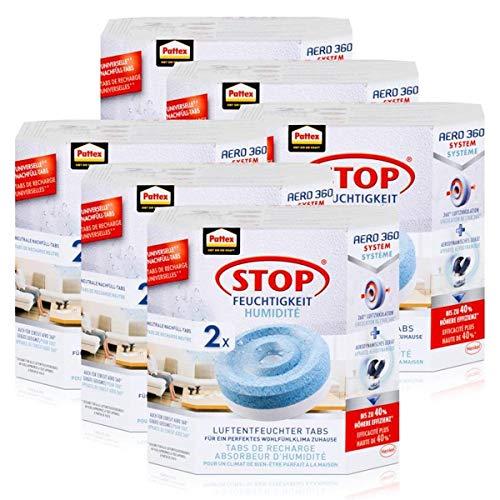 Henkel Pattex Stop Feuchtigkeit Aero 360° Luftentfeuchter Nachfüllpack 2x450g Neutral-Tabs - Vorbeugend gegen Feuchtigkeit, schlechte Gerüche und Schimmel (6er Pack)