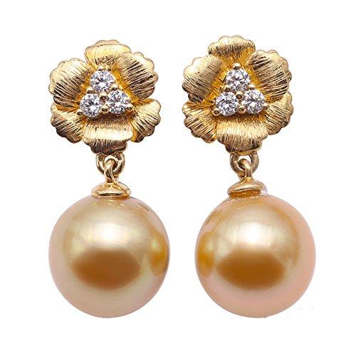 JYX Ohrringe, vergoldet, 10 mm, Südseeperle, 18 Karat Gold und Diamanten
