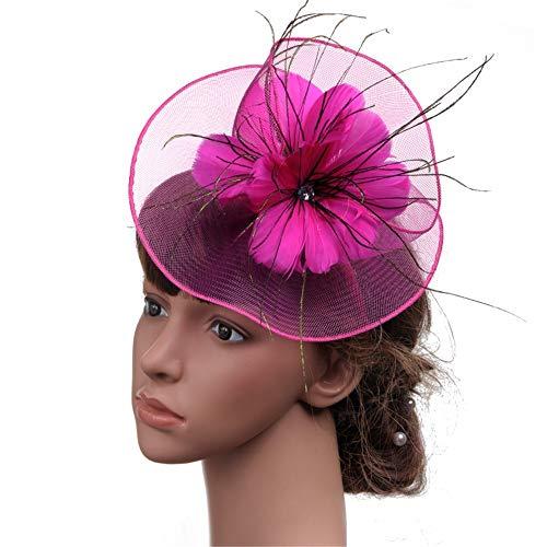 LTH-GD Gorra de Invierno y Sombrero Fascinators Hat for Women Tea Party Diadema Kentucky Derby Cóctel de Boda Flor de Malla Plumas Broche for el Cabello. (Color : Mei Red)