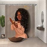 Sara Nell Afro Sexy Frauen afrikanische Amerikanische halten einen Spiegel Duschvorhang mit 12 Haken, wasserdicht und langlebiges Polyestergewebe, Queen Badevorhänge Badezimmer Dekoration, 183 x cm