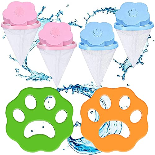 Tuofang 2Pcs Quitapelos para Mascotas, 4 Pcs Reutilizables Flotantes Pelusa, Bolsa de Red de Filtro de Pelo Herramienta, para Quitar la Piel de Perros y Gatos