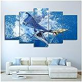 Lienzo Cuadros Arte de la pared HD Imprimir Atún Pintura de pez vela Cartel de pesca Decoración de la sala de estar -30x40cmx2 30x60cmx2 30x80cm Sin...