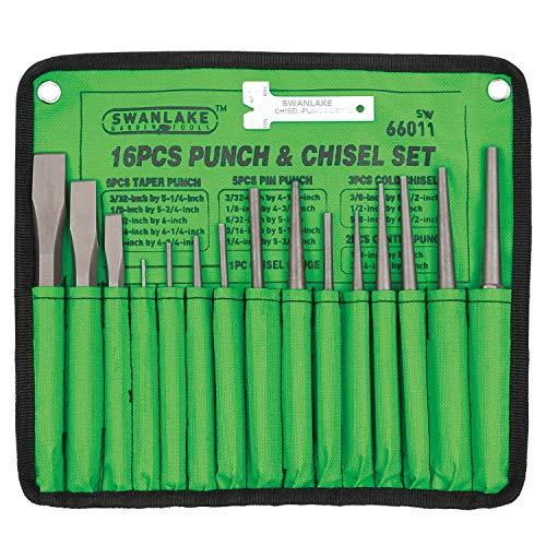 SWANLAKE 16-Piece Punch and Chisel Set, Including Taper Punch, Cold Chisels, Pin Punch, Center Punch
