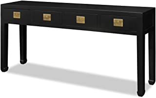 China Furniture Online Elmwood Console Cabinet, 72 Inches Hand Crafted Ming Style Console Table with 4 Drawers in Matte Black Finish