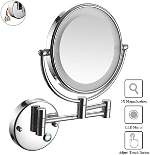 Makeup Mirror, Wall Mount LED Lighted 5X Magnifying Touch Screen Shaving Mirror Double-Sided Round Bathroom Vanity Mirror Swivel Extendable Cosmetic Mirror, Concealed Install