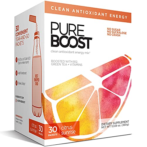 Pureboost Clean Energy Drink Mix + Immune System Support. Sugar-Free Energy with B12, Multivitamins, Antioxidants, Electrolytes (Citrus Sunrise, 30 Count)