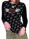 Camiseta de moda de otoño para mujer, de moda, de cuello redondo, con diamantes de imitación, de manga larga, para mujer, Negro, M