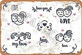 BIGYAK Love You My Love Vintage Look 20 x 30 cm Metal Decoración Letrero para el hogar, cocina, baño, granja, jardín, garaje, citas inspiradoras decoración de pared