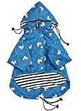 Morezi Dog Zip Up Dog Raincoat with Reflective Buttons, Rain/Water Resistant, Adjustable Drawstring, Removable Hood, Stylish Premium Dog Raincoats - Size XS to XXL Available - Grid Blue - L