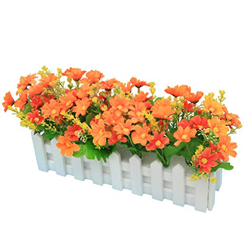 Flikool Künstliche Pflanze mit Zaun Topfpflanzen Künstliche Blumen Chrysantheme Fälschung Potted Bonsai Handwerk Dekorationen Ornaments - Gelb