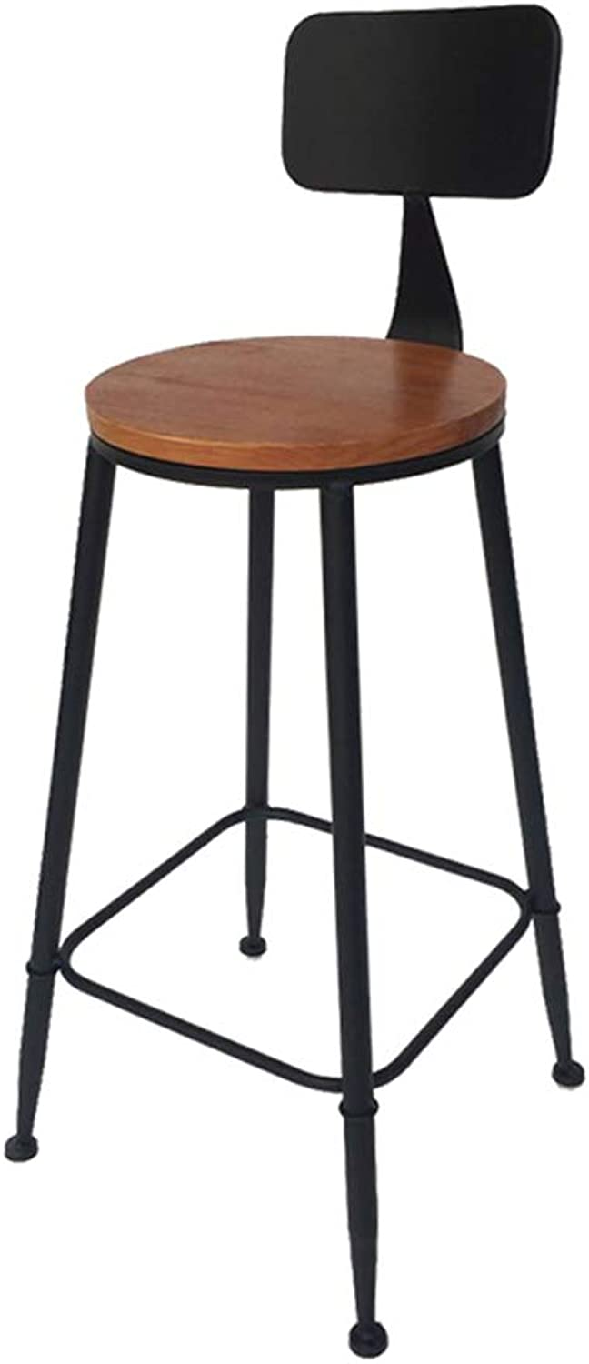 Bar Stool High Stool Dining Chair Iron Wood Retro High Stool Bar Stool Chair Leisure Bar Back Chair Kitchen High Bench Business Office Chair (Size   High75cm)