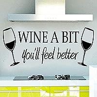 ウォールステッカー黒ワインは柔らかいですあなたはより良い引用を感じるでしょうウォールステッカーデカール家庭用アートダイニングテーブルキッチンリビングルームウォールステッカー56X23Cm