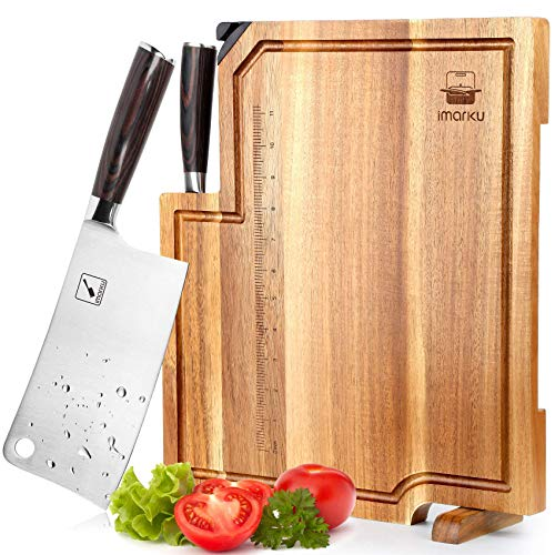Cleaver Knife, Acacia Wood Cutting Board - with a Chef Knife, Cutting Board with Handle & Juice Groove, imarku Wooden Cutting Boards for Kitchen