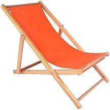 High-quality recliner Zero Gravity Chair Sun Lounger Wood Folding Deck Chair, for Garden Lounger Recliner Chair Balcony Beach Chair Sun Lounger (Color : Orange)