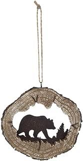 Bear Silhouette Log Cabin Christmas Ornament, Hunting Lodge Woodland Decor