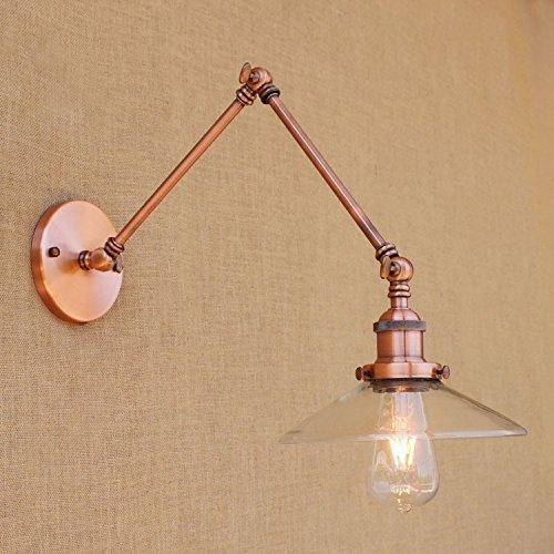Lampe murale décorative à double bras en verre transparent rétro long double