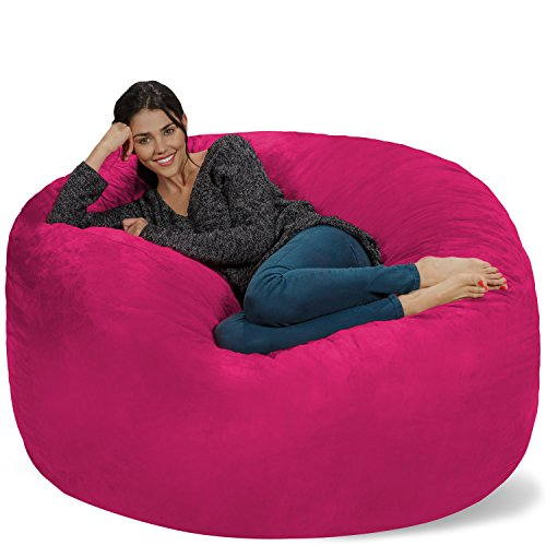 Chill Sack Bean Bag Chair: Giant 5' Memory Foam Furniture Bean Bag - Big Sofa with Soft Micro Fiber Cover - Pink